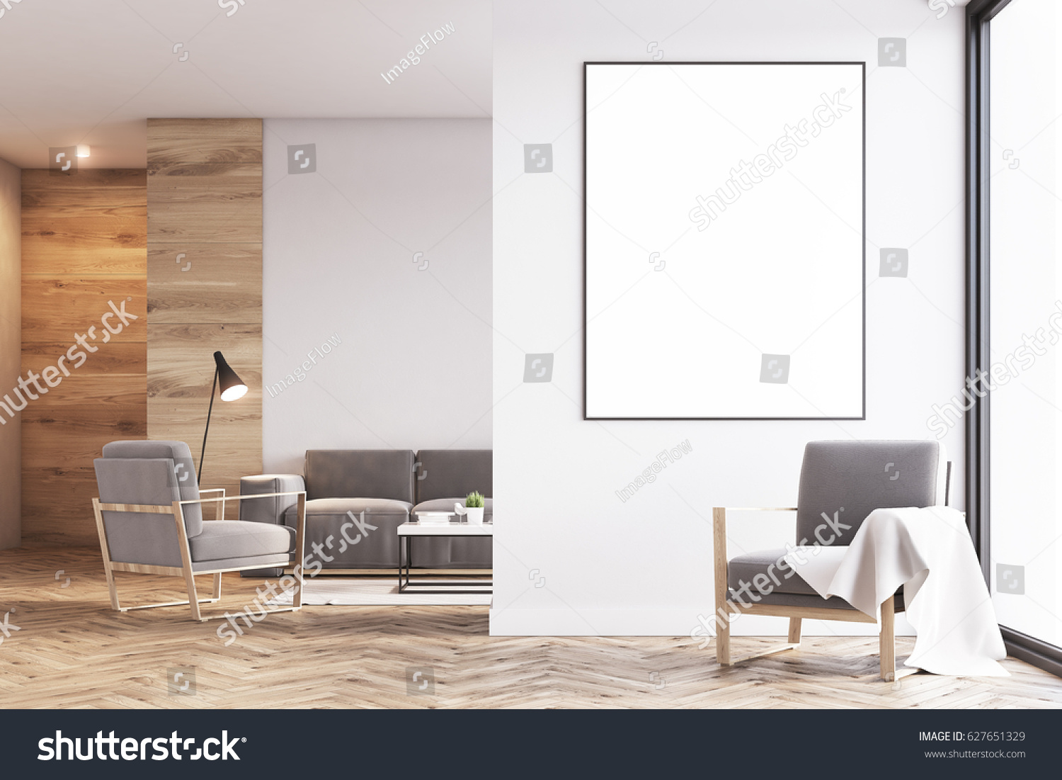 Living Room Interior Light Wooden Walls Stock Illustration 627651329 ...