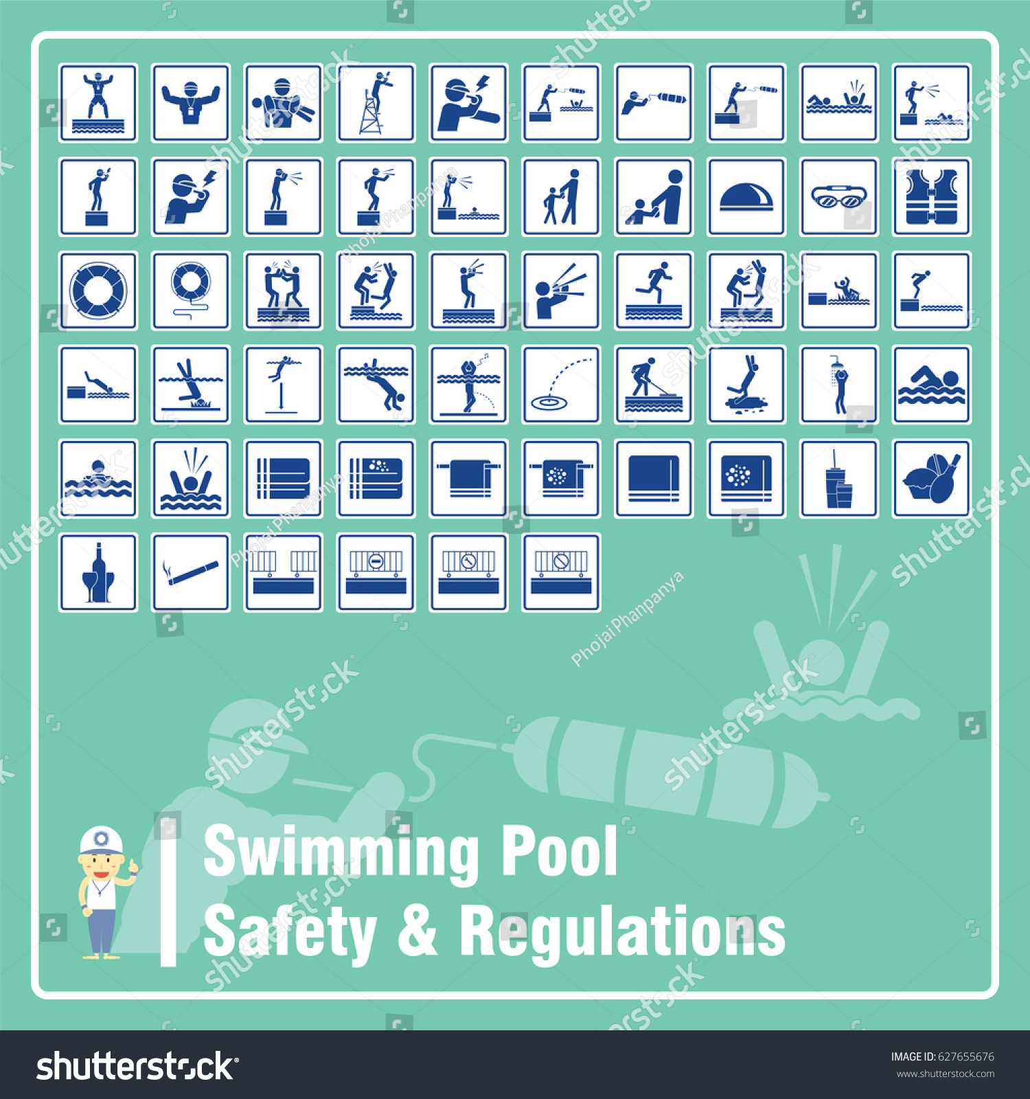Set signs symbols swimming pool safety stock vector - Swimming pool rules and regulations signs ...