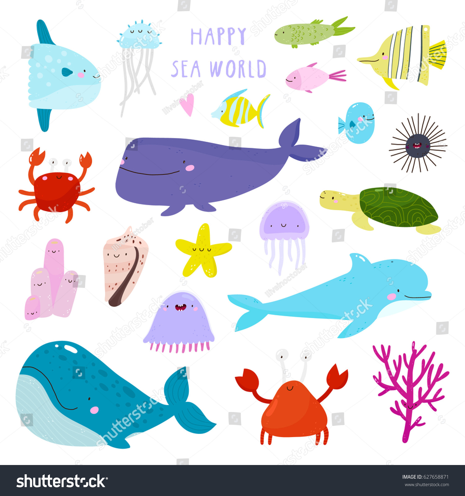 super cute set marine animals happy stock vector 627658871