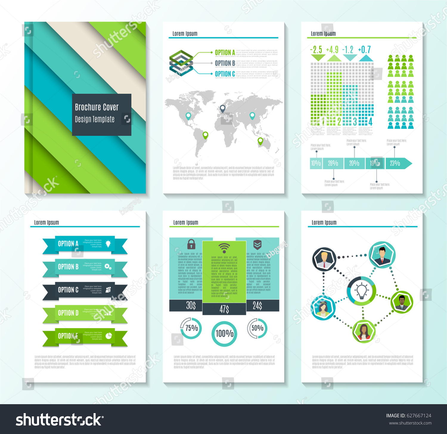 Set Corporate Business Stationery Brochure Templates Stock Vector ...