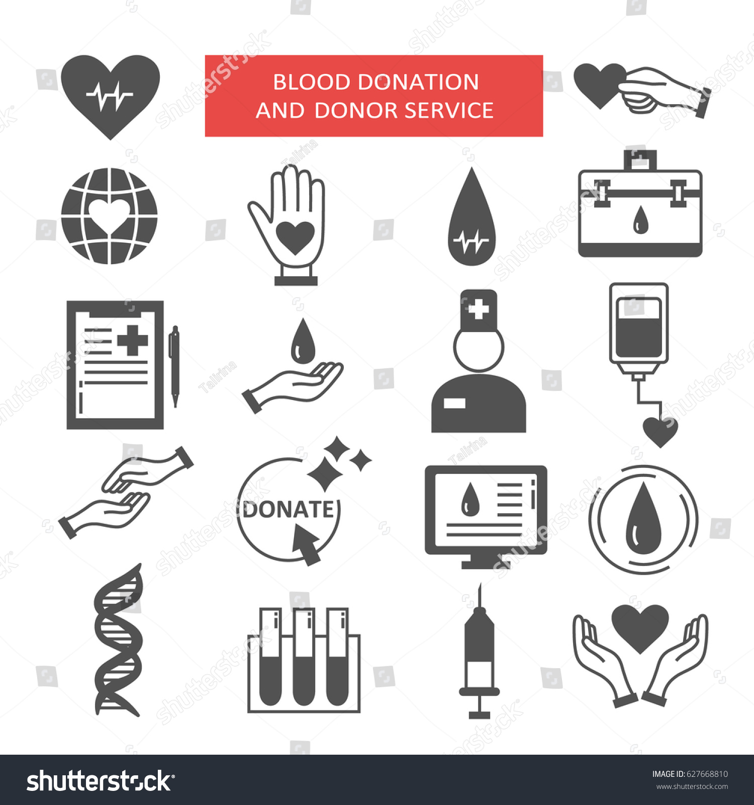 Collection Symbols Charity Aid Donations Modern Stock Vector