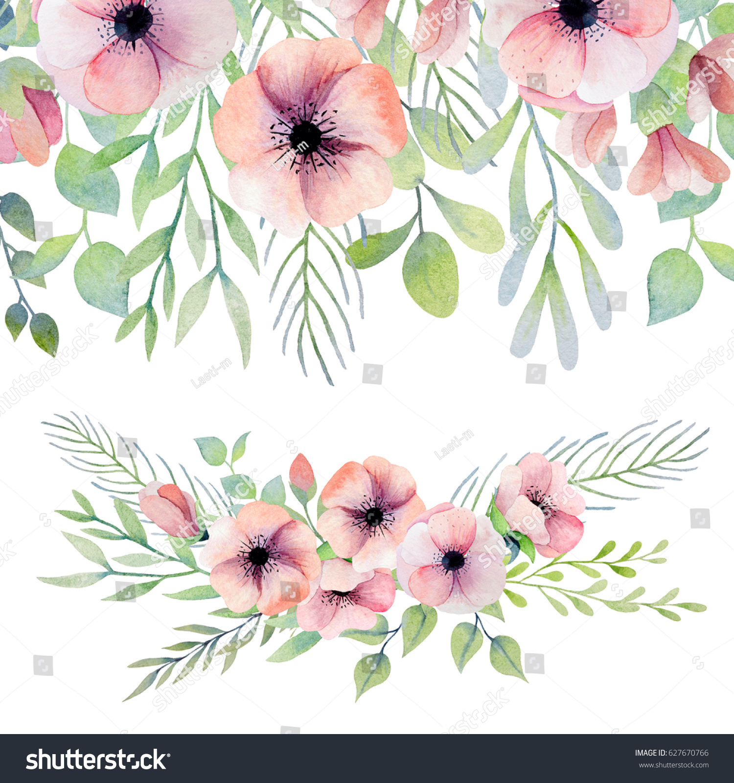 Watercolor Border And Flower Arrangement Beautiful Set With
