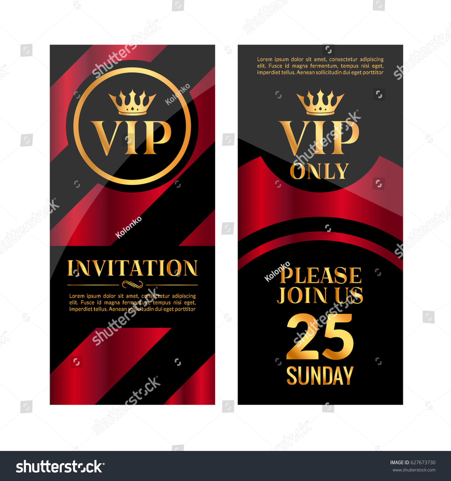 VIP Party Premium Red Golden Invitation Stock Vector (Royalty Free ...