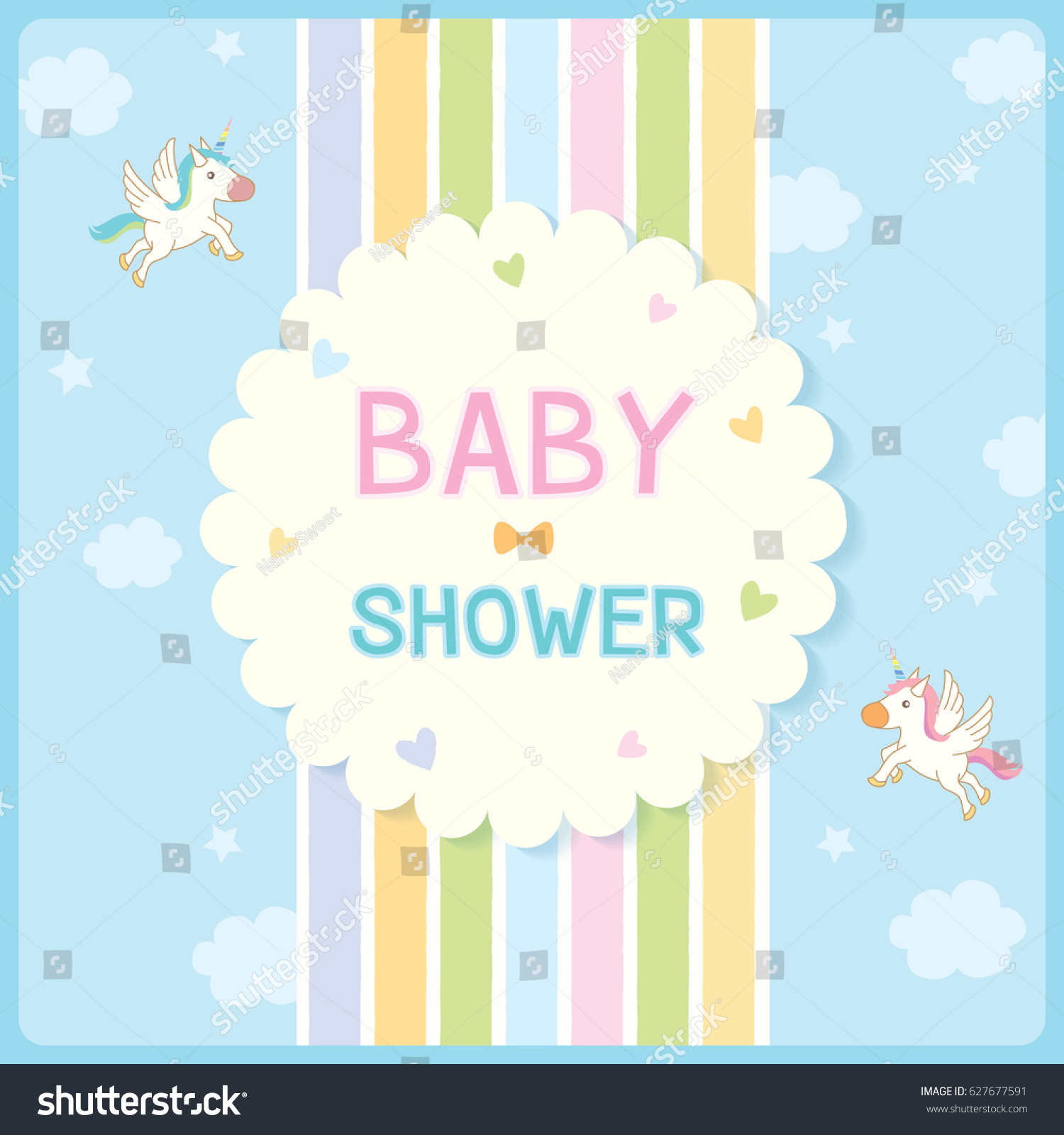 Baby shower invitation card newborn design stock vector royalty baby shower invitation card for newborn design with rainbow and blue sky background decorated with cute filmwisefo
