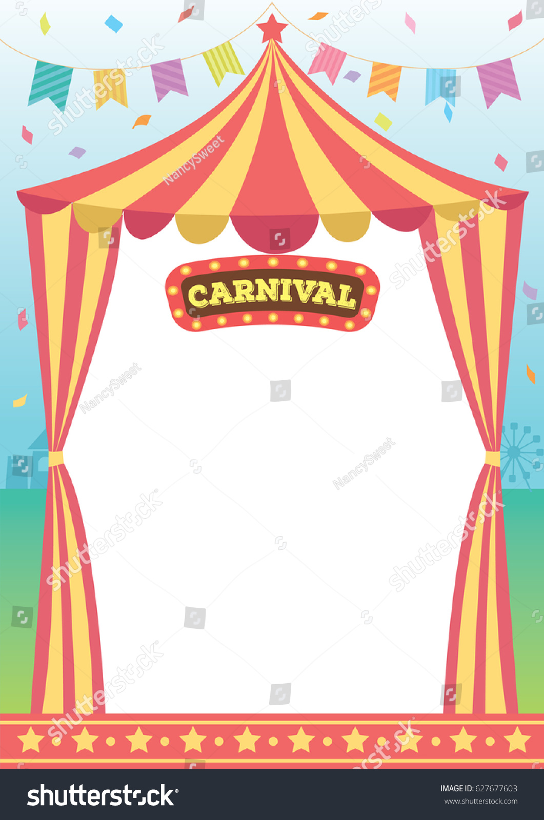 Illustration Vector Circus Tent Carnival Decorated Stock Vector