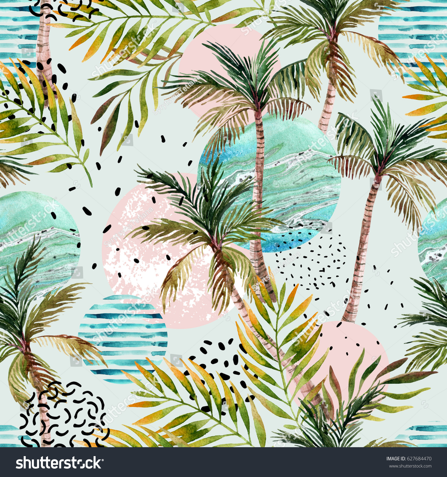 Abstract Summer Geometric Seamless Pattern Watercolor Stock ...