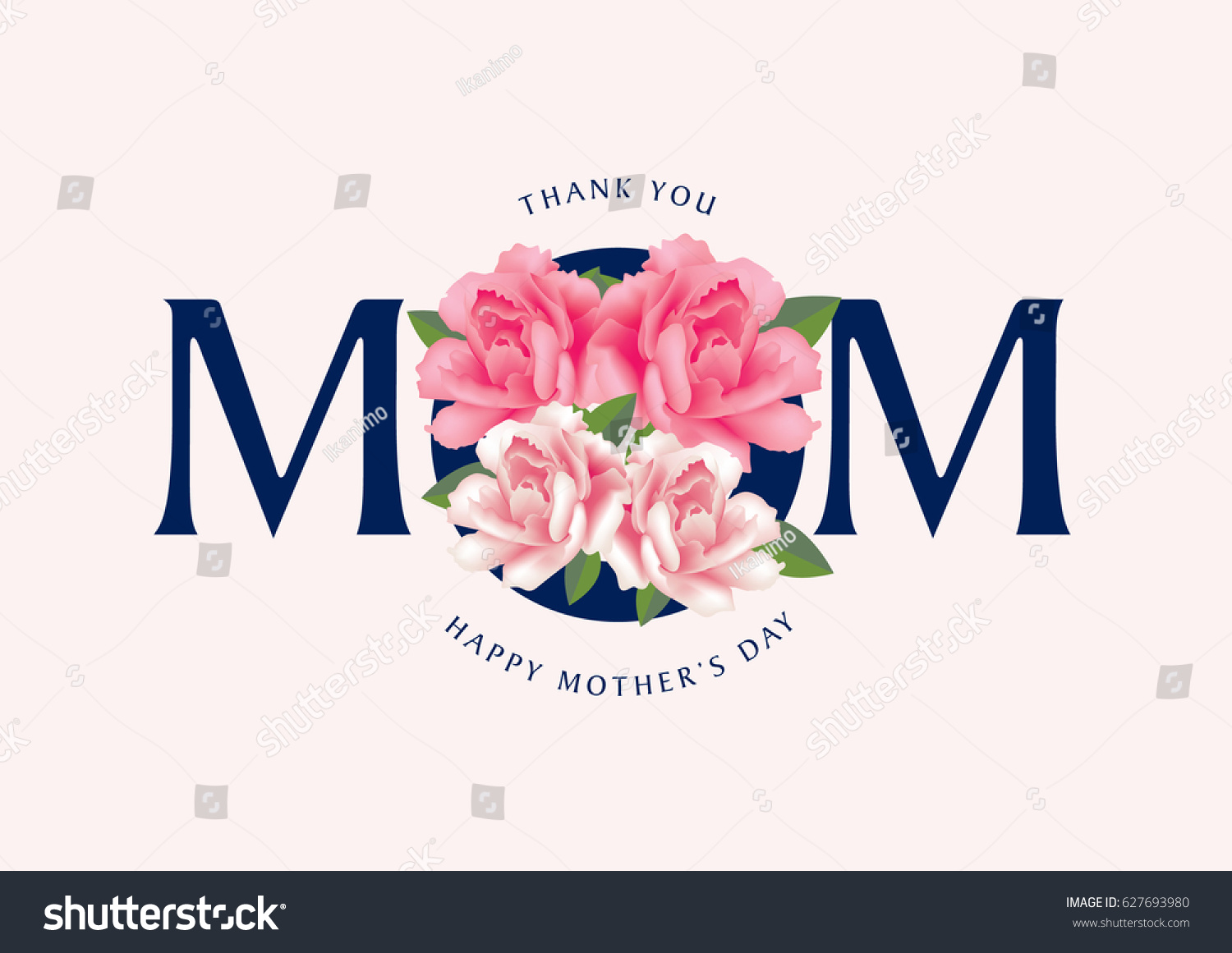 Mothers Day Greetings Thank You Mom Stock Vector Royalty Free