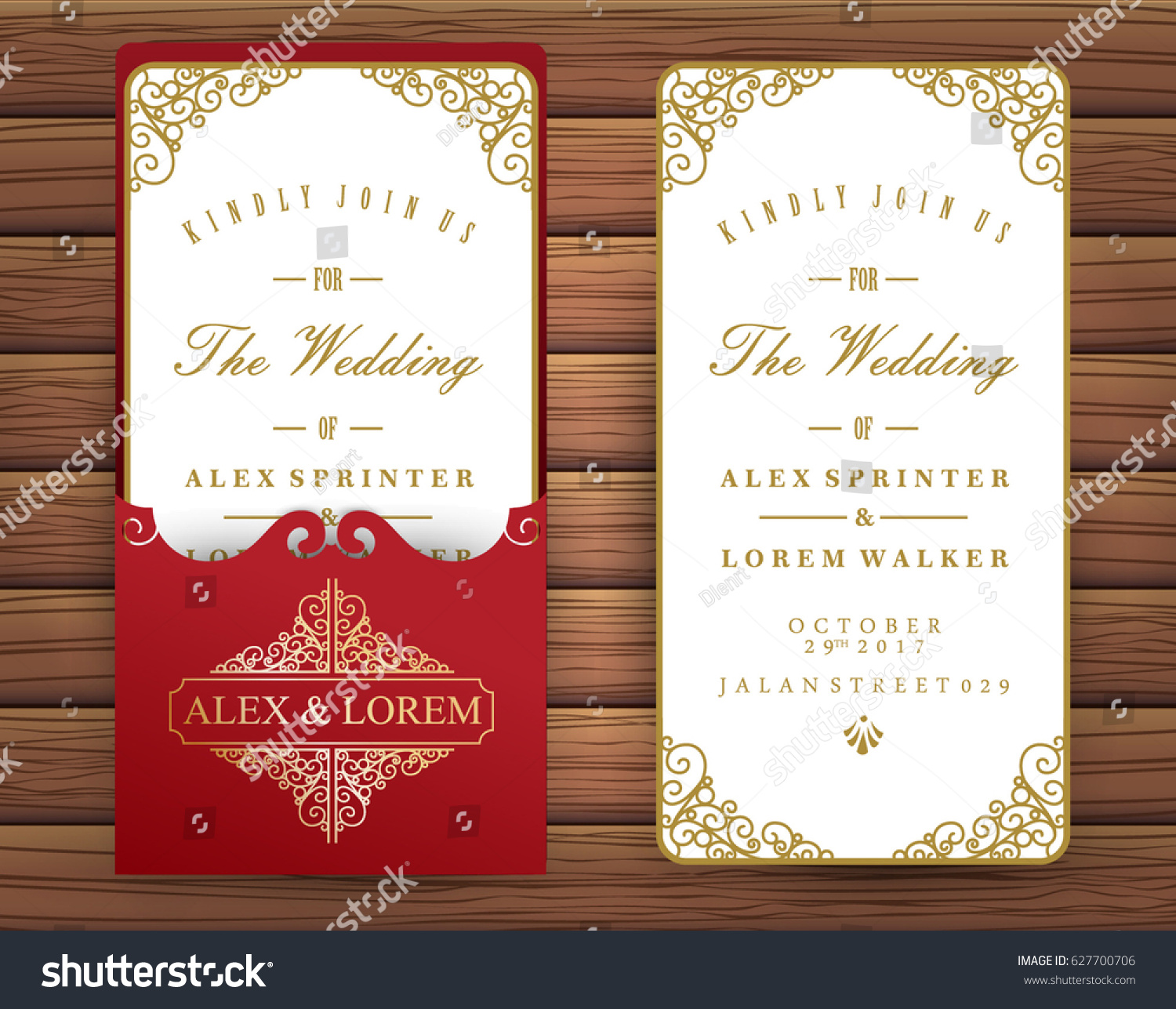 Red Ruby Wedding Invitation Card Stock Vector 627700706 - Shutterstock