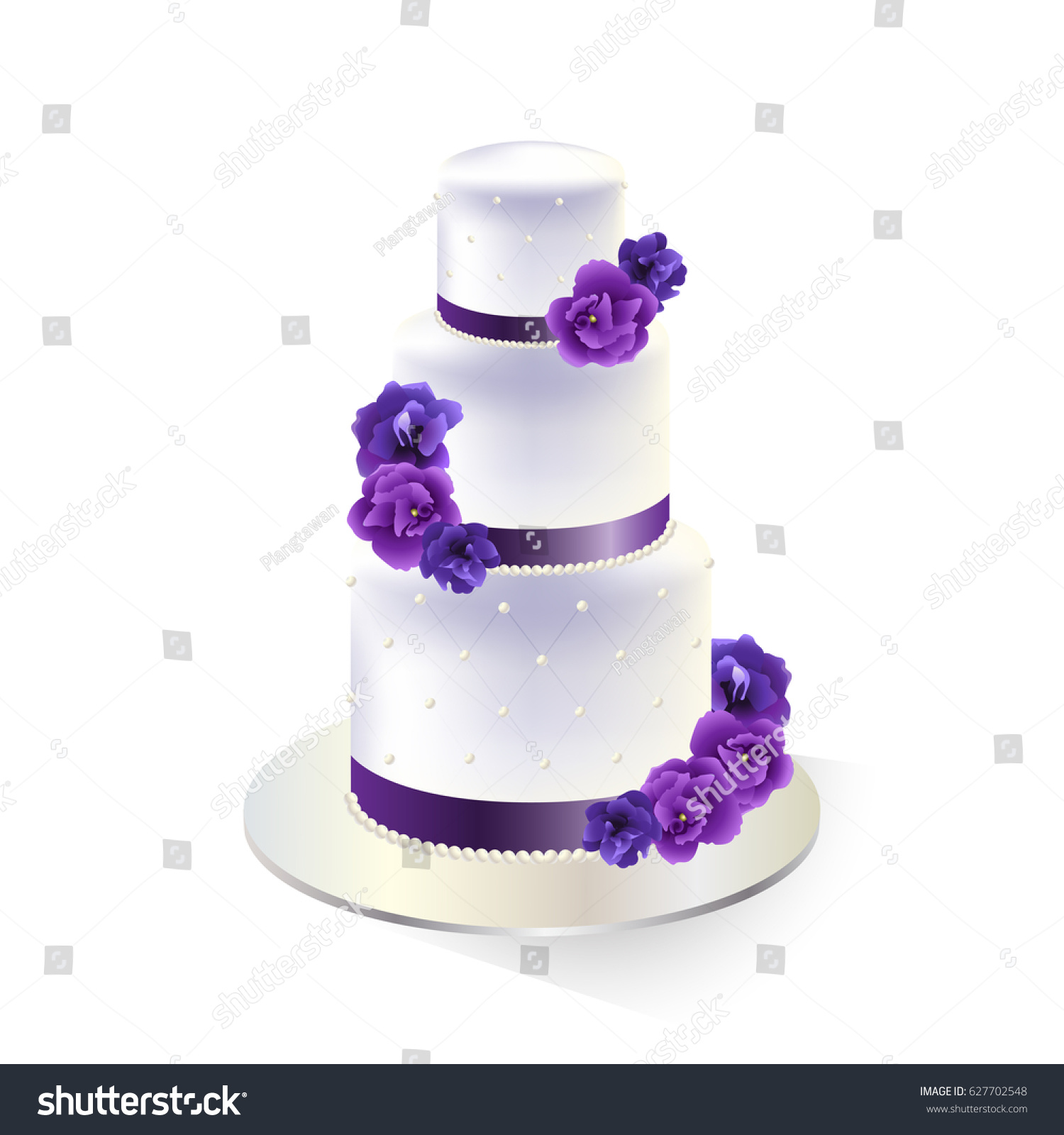Traditional White Tiered Wedding Cake Decorated Stock Vector ...
