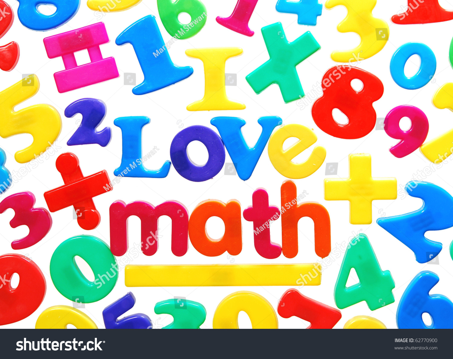i love math written in colorful plastic letters surrounded by numbers and equation symbols