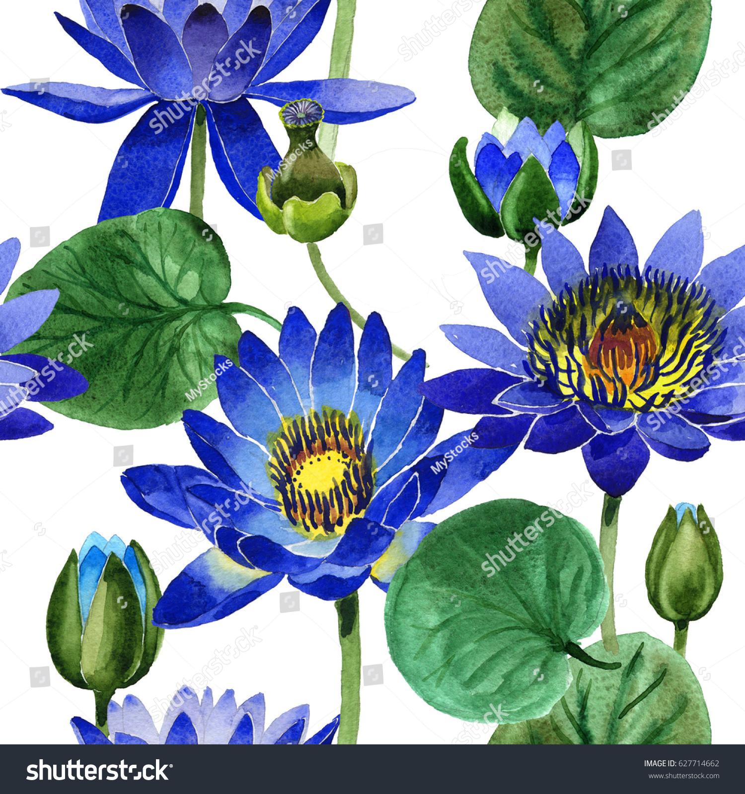 Wildflower Blue Lotus Flower Pattern Watercolor Stock Illustration