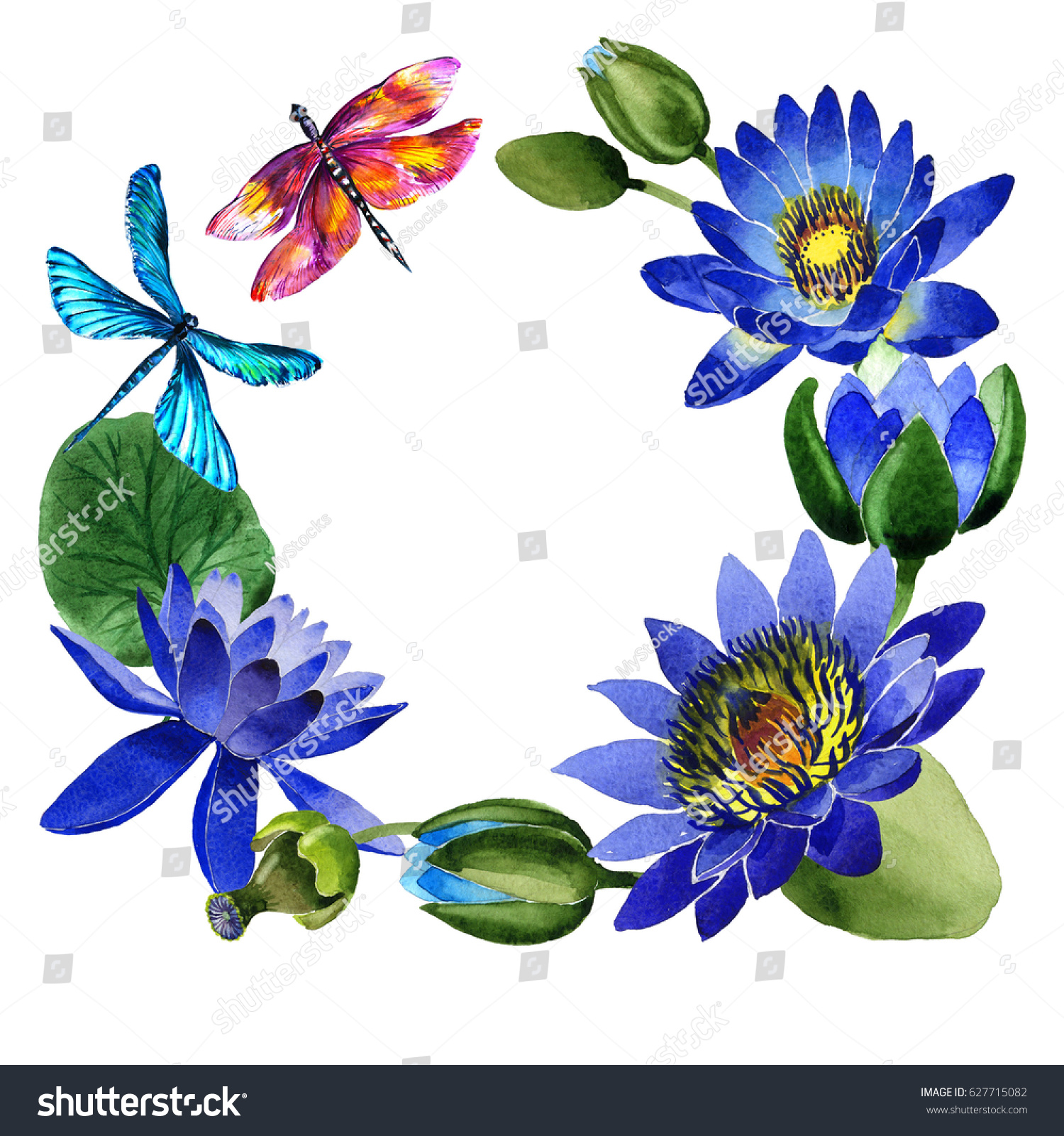 Wildflower Blue Lotus Flower Frame Watercolor Stock Illustration