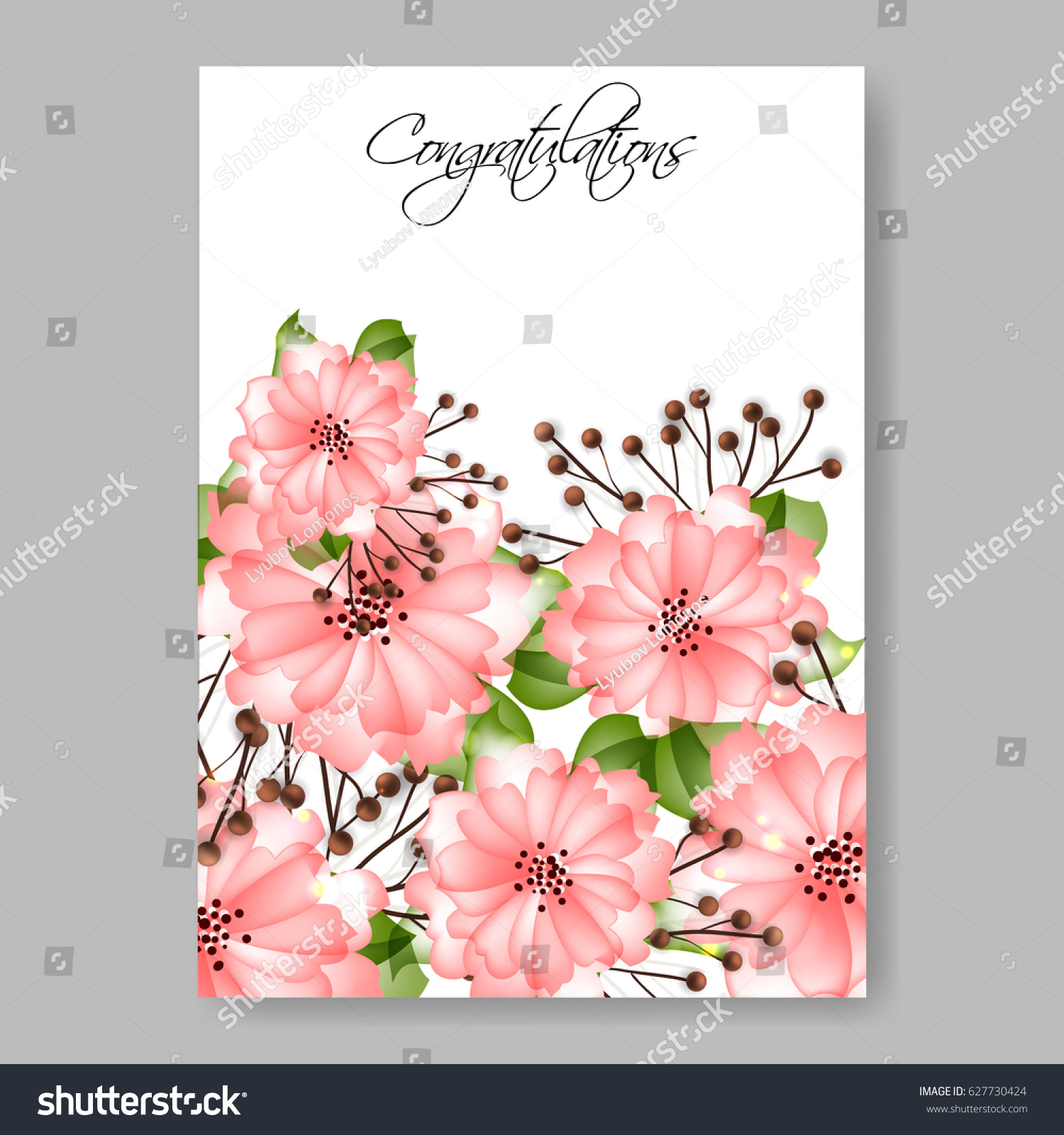 Pink spring flower wedding invitation vector stock vector 627730424 pink spring flower wedding invitation vector template stopboris Images