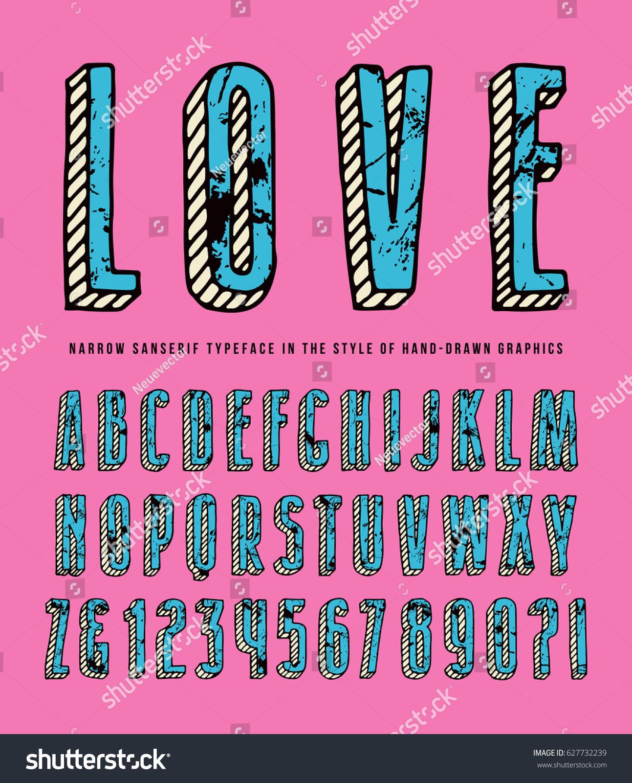 Decorative Sanserif Bulk Font Typeface Style Stock Vector (Royalty ...