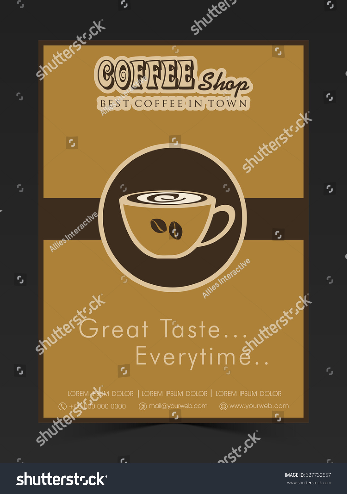 Coffee Shop Flyer, Template, Banner Or Poster Design.