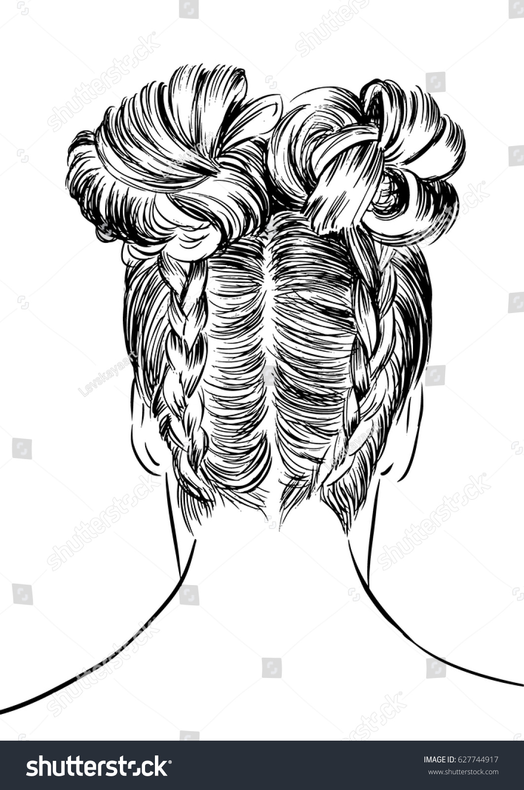 Double French Braid Buns Hairstyle Stock Vector (Royalty