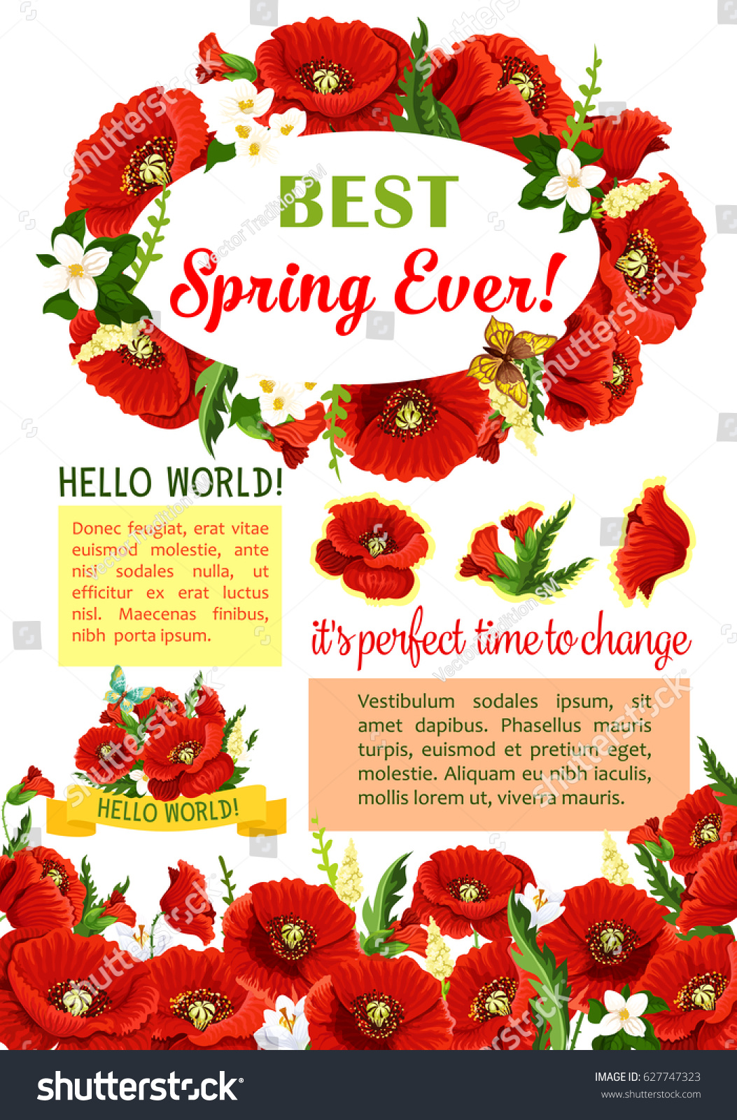 Spring Flower Wreath Poster Template Spring Stock Vector Royalty