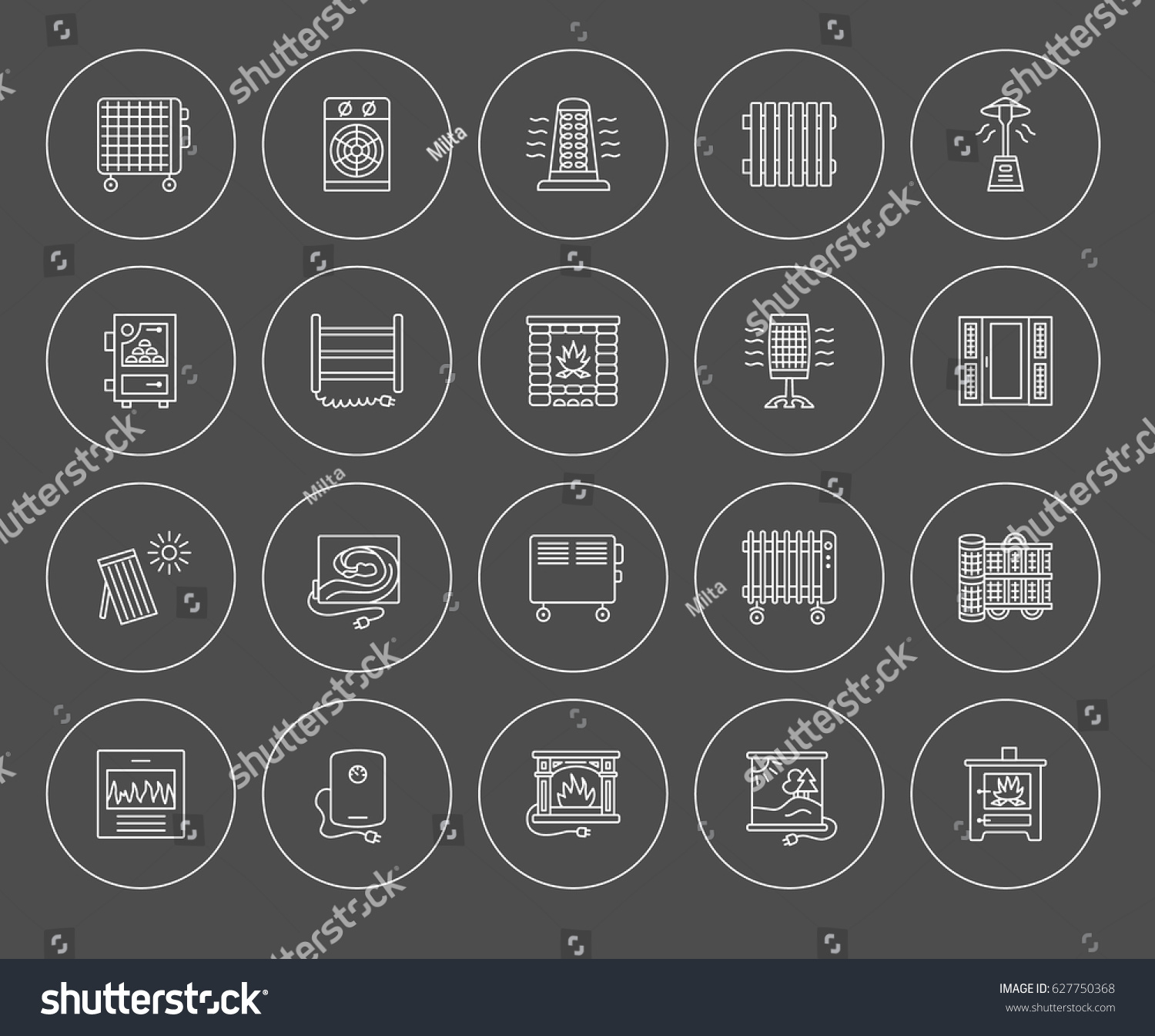 vector line icons radiator convector fireplace stock vector