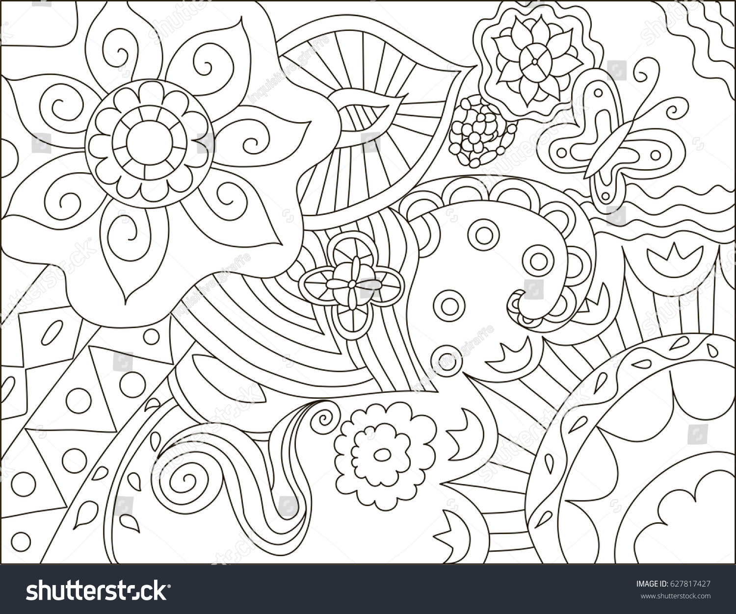 Coloring adults stress - Painting For Adult Anti Stress Coloring Page Book