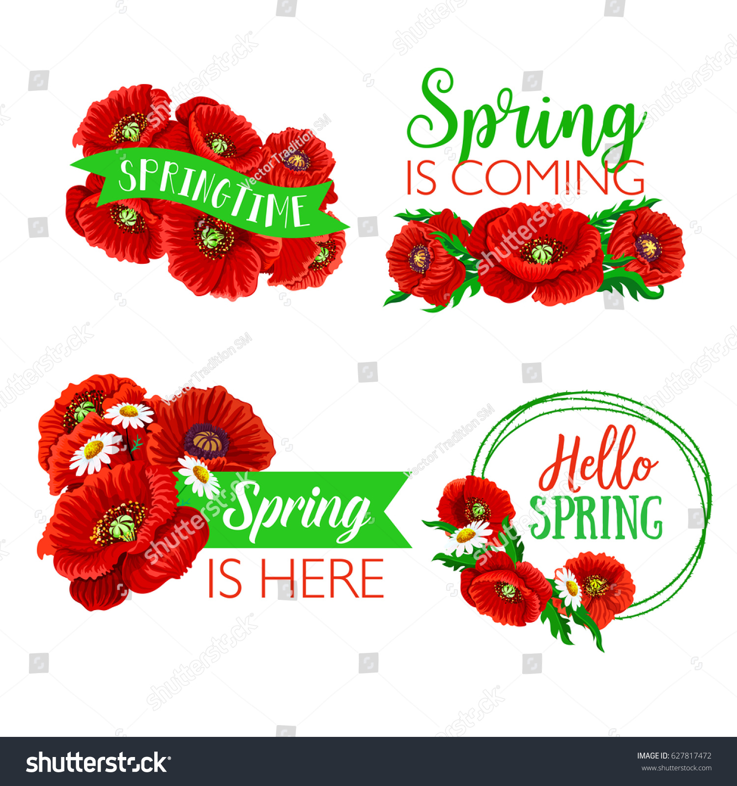 Spring Time Quotes Greetings On Isolated Stock Vector 627817472