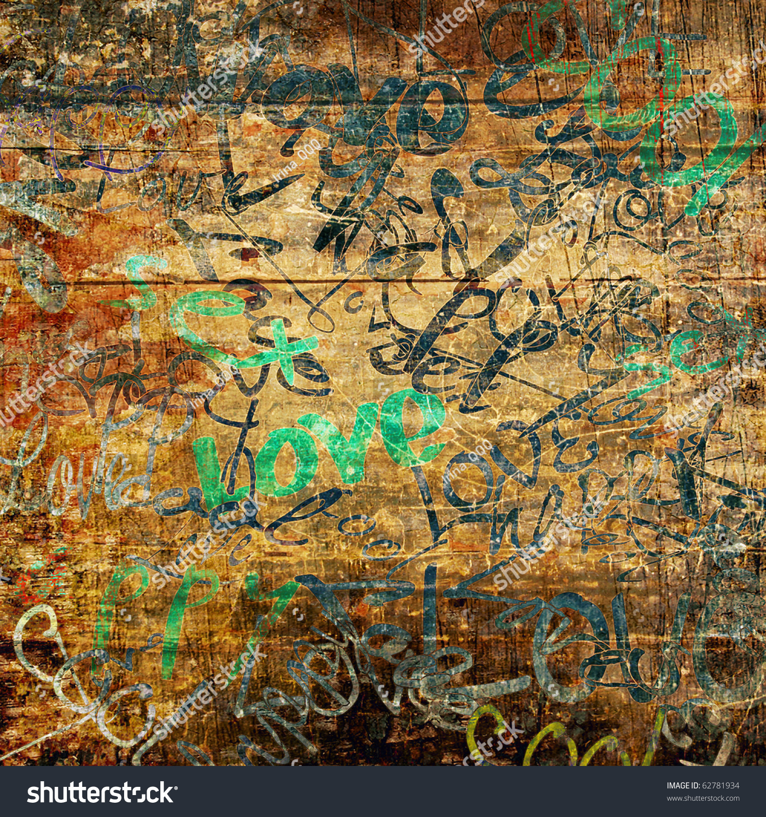 Graffiti art on wood - Art Urban Graffiti On Brown Wood Background With Word Love In Green And Blue Colors
