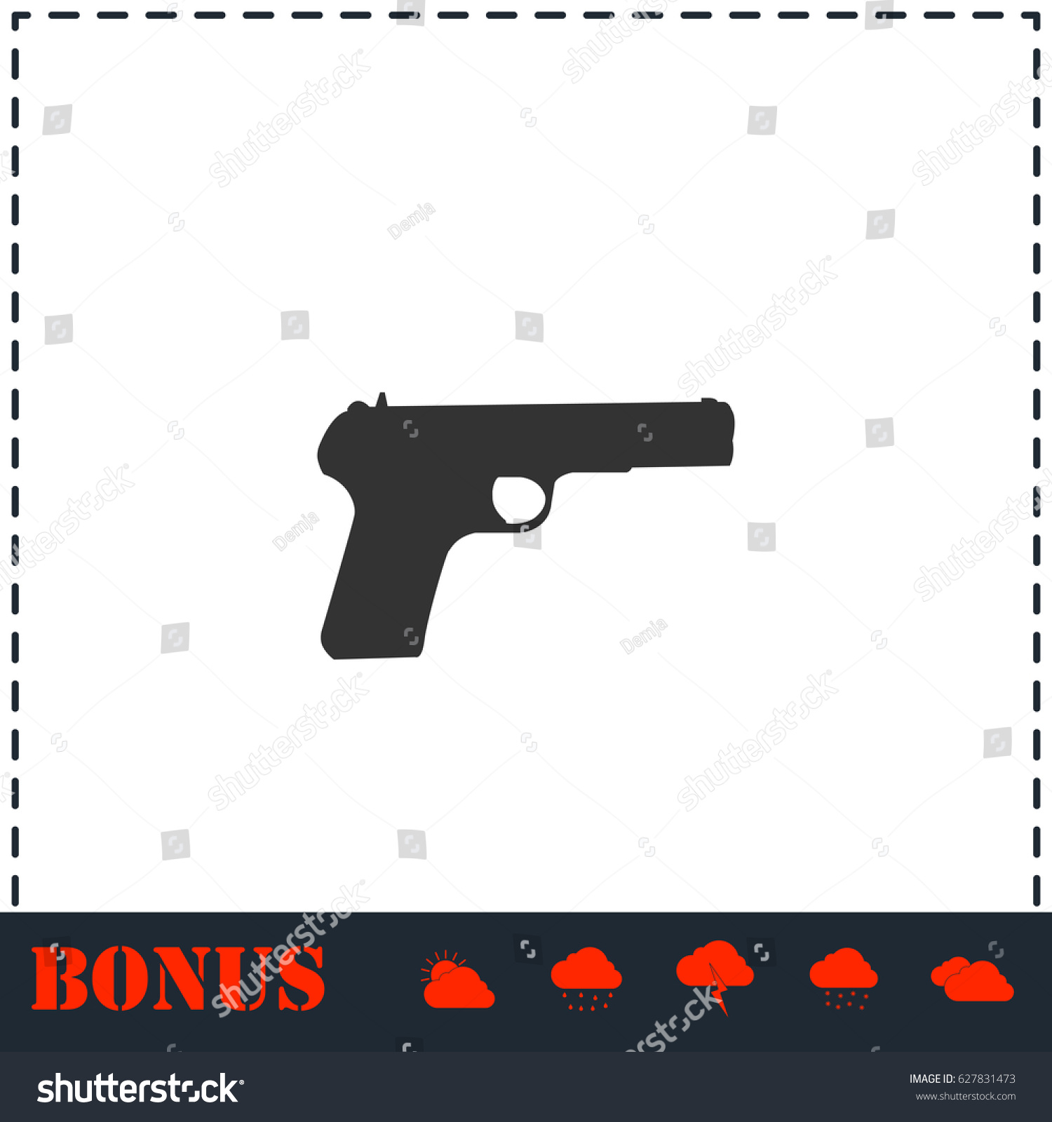 Gun icon flat simple illustration symbol stock illustration gun icon flat simple illustration symbol and bonus pictogram biocorpaavc
