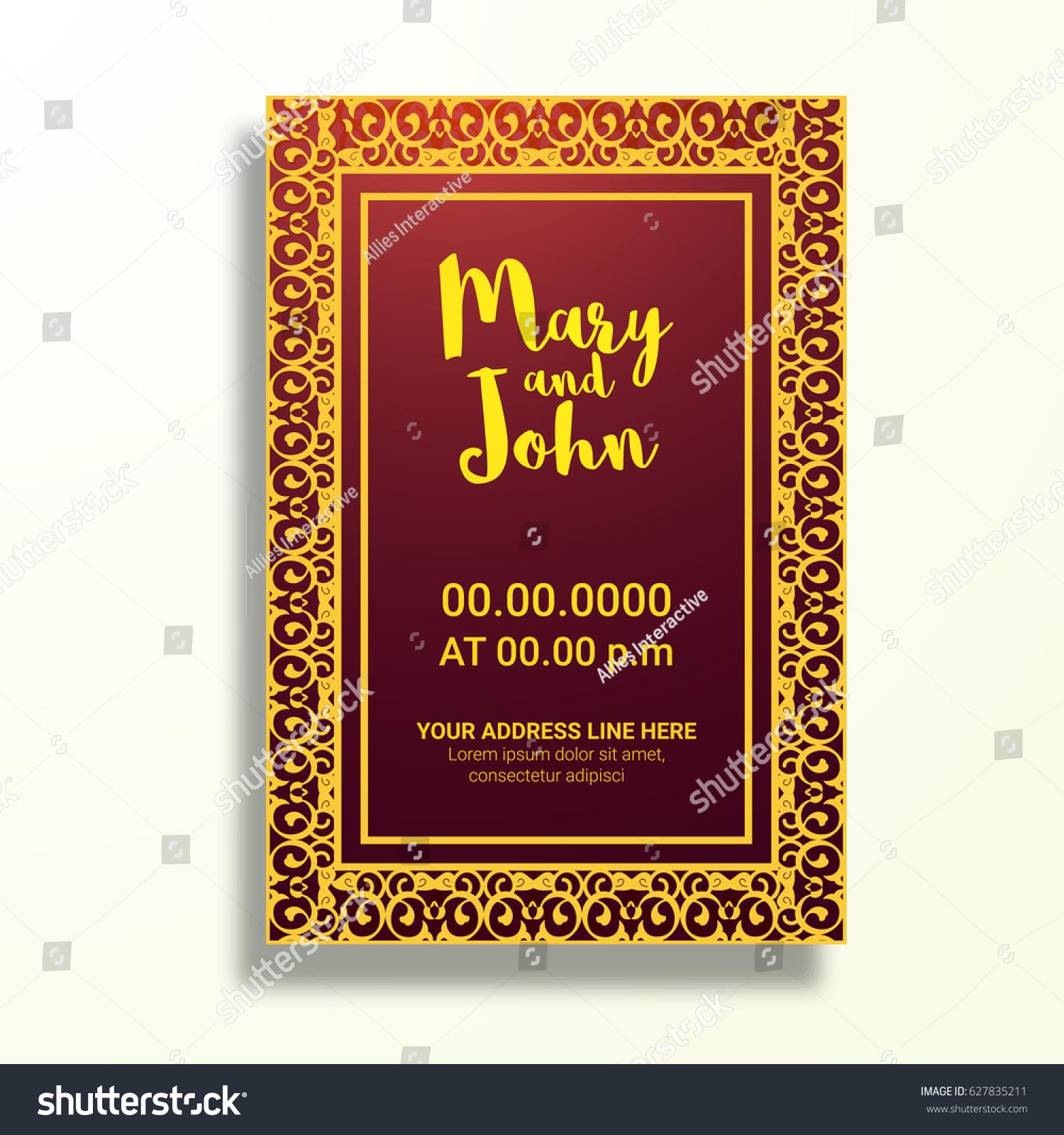 Beautiful Golden Brown Wedding Card Stock Vector 627835211 ...