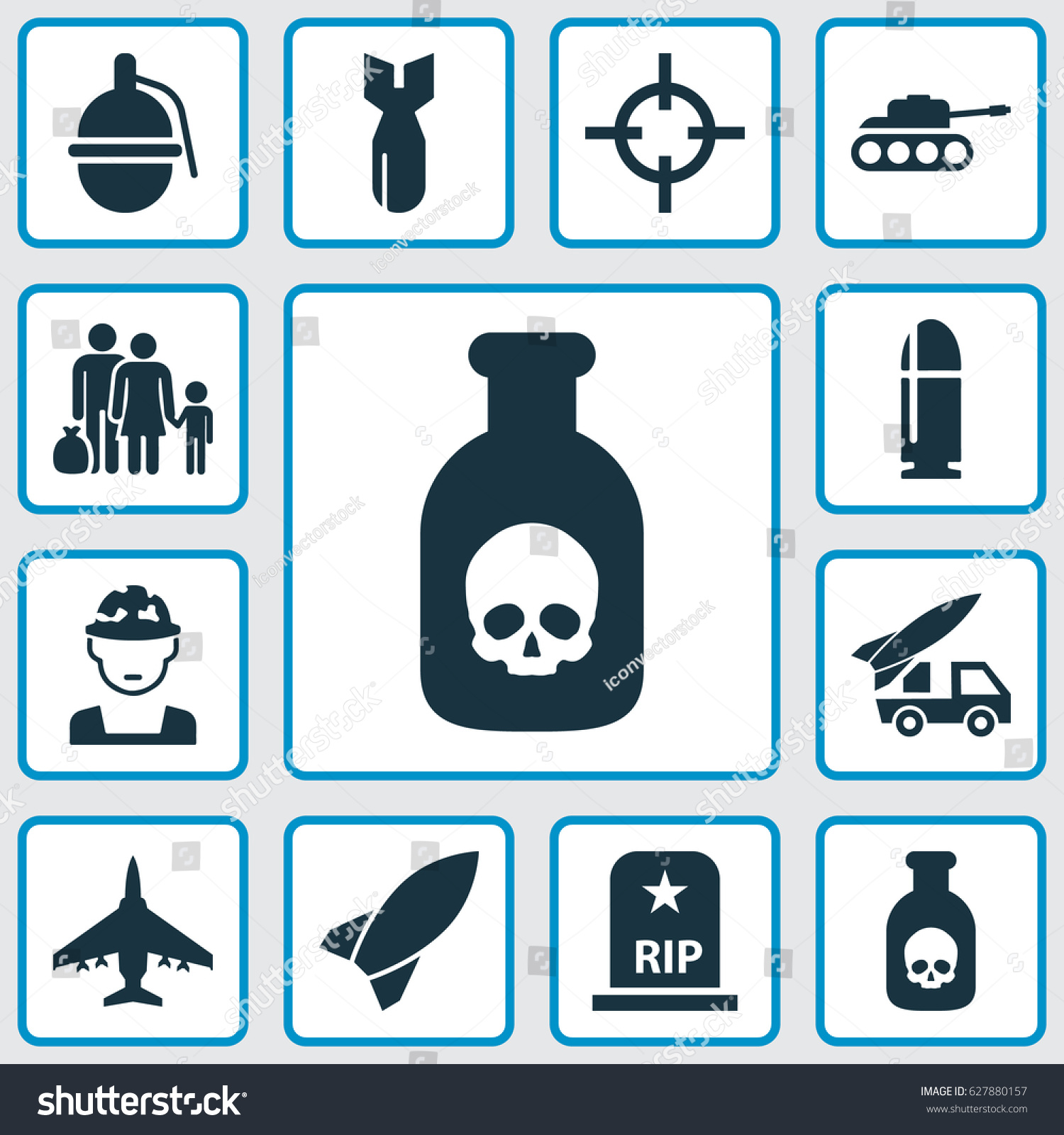 Army Icons Set Collection Danger Military Stock Vector Royalty Free