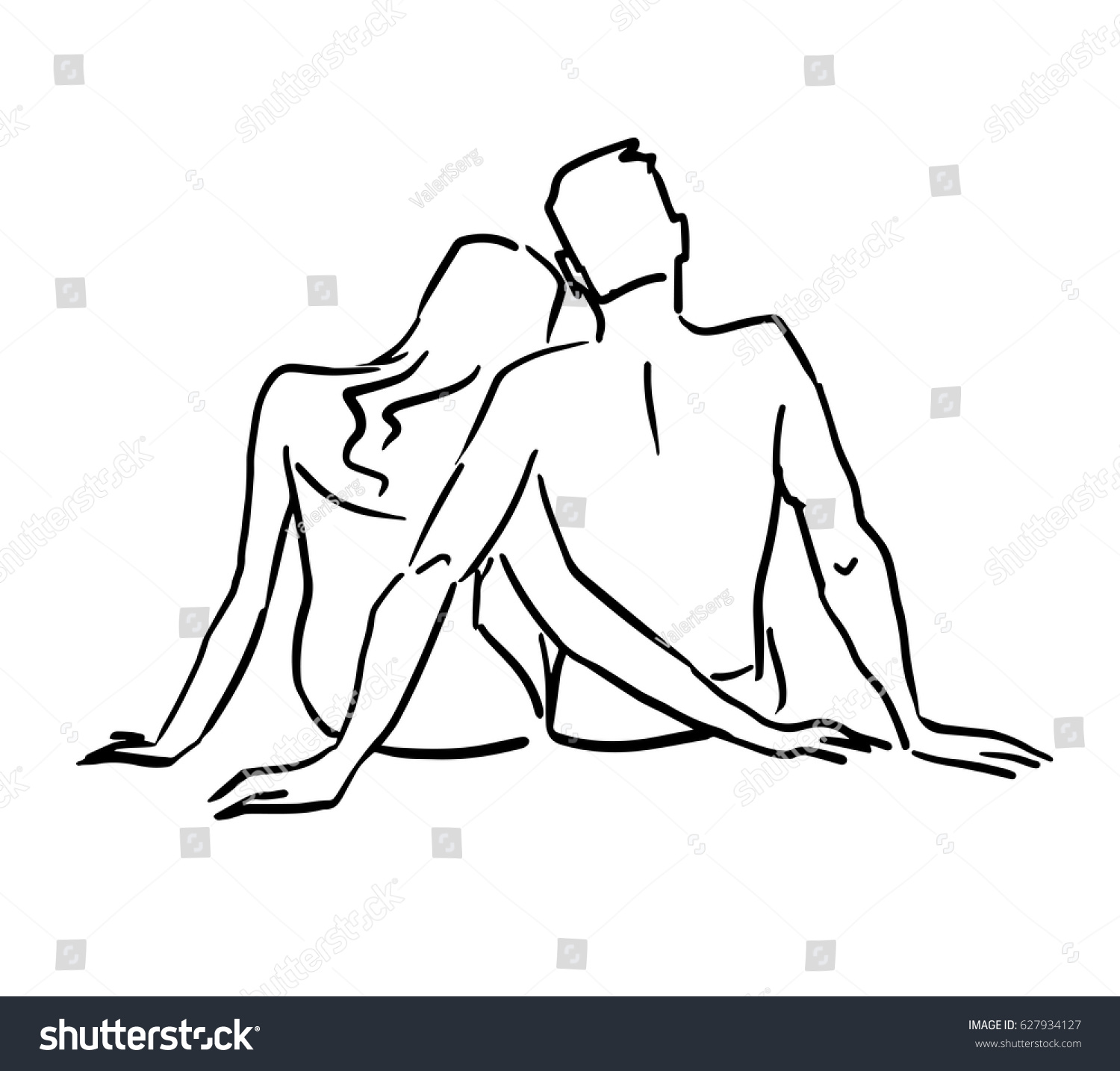 Sketch of the beach couple sitting together on the ground back view man and