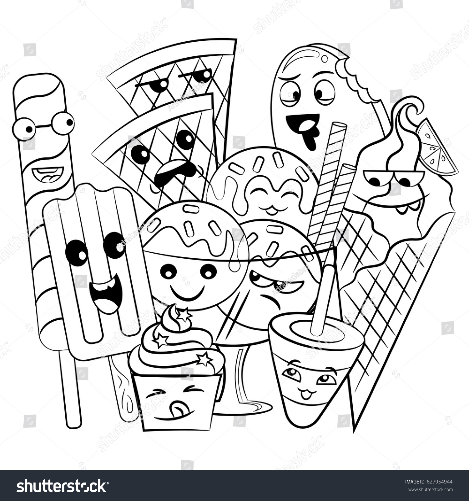 Black White Coloring Page Cute Sweet Food And Drink