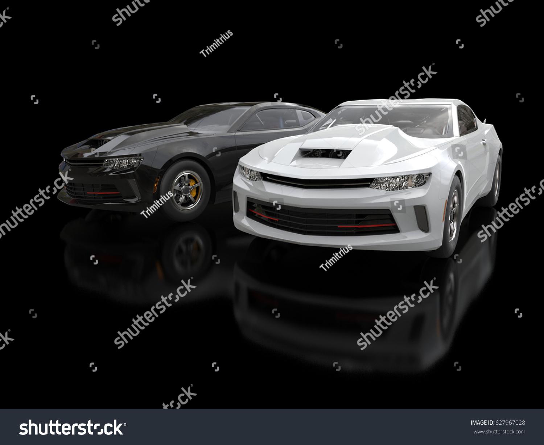 Black White Modern Muscle Cars 3d Stock Illustration 627967028 ...