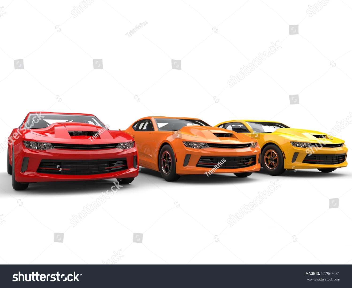 Modern Muscle Cars Warm Colors 3d Stock Illustration 627967031 ...