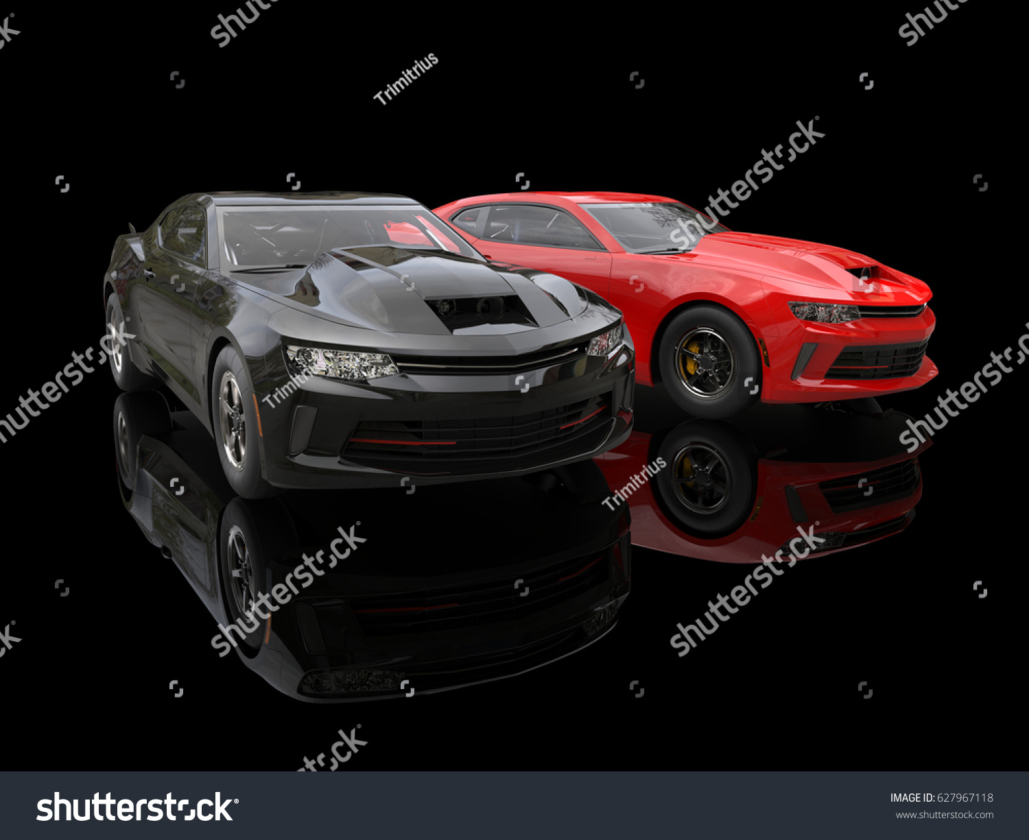 Black Red Modern Muscle Cars On Stock Illustration 627967118 ...