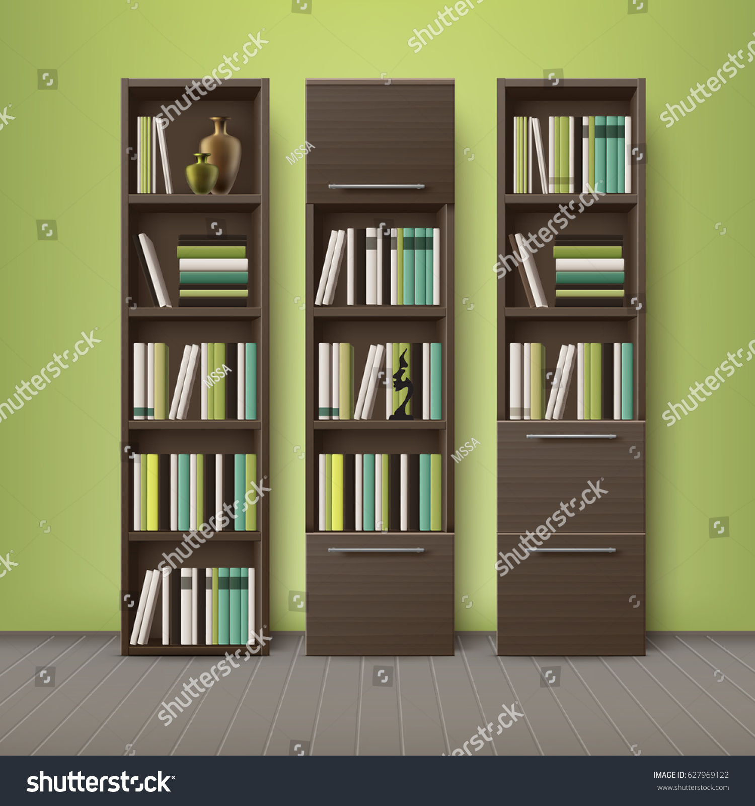 vector brown wooden bookcases full of different books and decorations standing on floor with - Wooden Bookcases