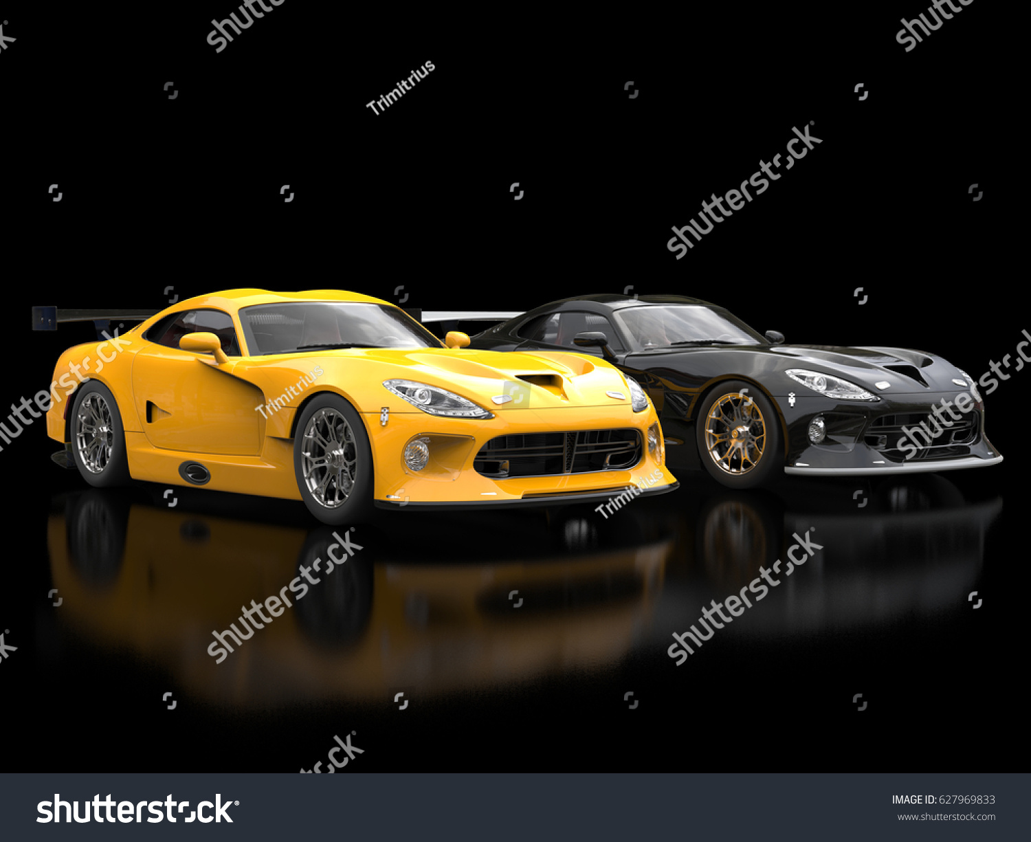 Modern Sports Cars Black Yellow Nice Stock Illustration - Modern sports cars