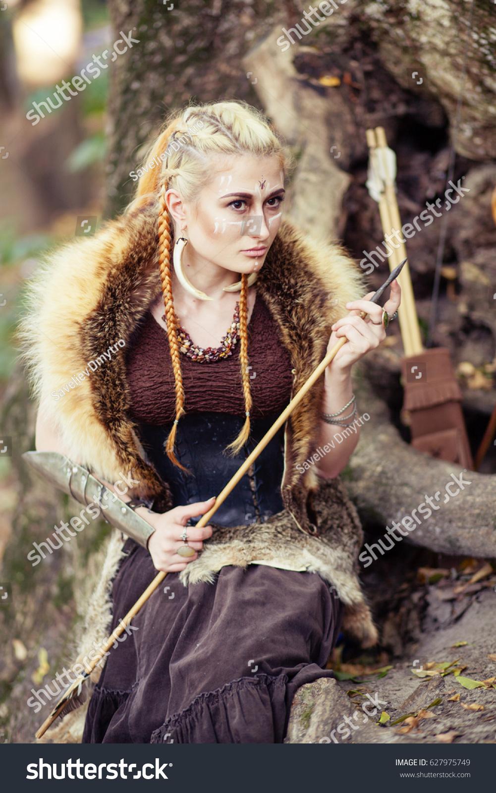 Portrait Woman Amazon Woman Warrior Hunting Stock Photo Edit Now