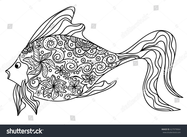 hand drawn decorated image fish zentangle stock illustration