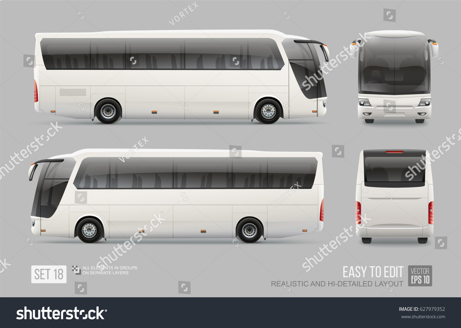 White Vector Coach City Bus Mockup Stock Vector 627979352 ...