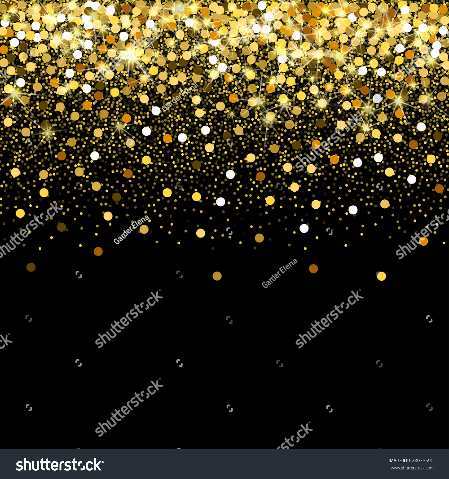 Gold glitter bright vector transparent background golden sparkles - Gold Glitter Frame With Empty Space For Text Scattered Golden Confetti Border On Transparent Background