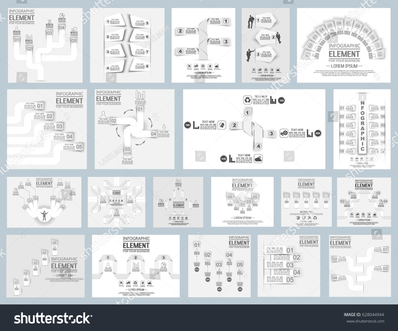 Mega Collection Twenty Origami Element Infographic Stock Vector ...