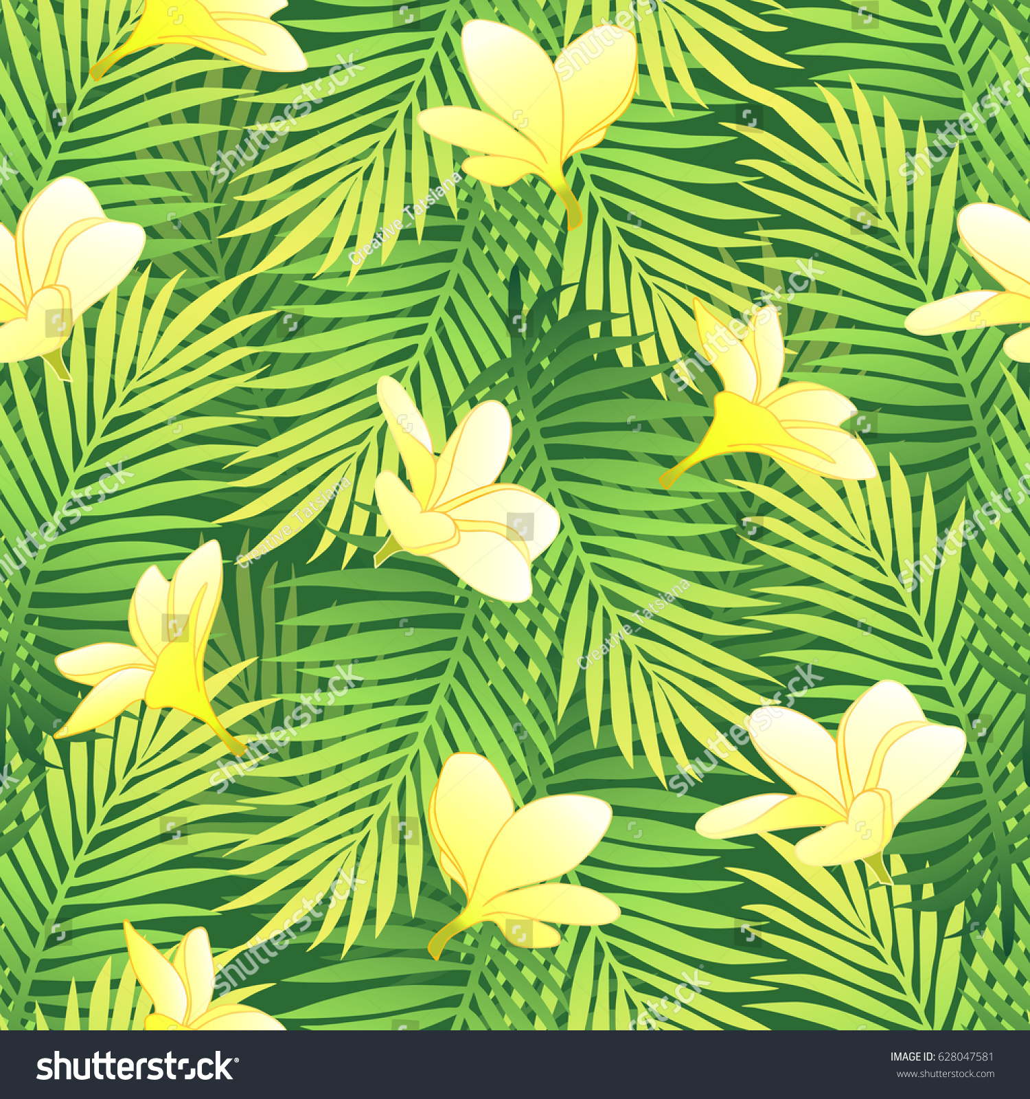 Tropical Green Palm Leaves With Exotic Yellow Plumeria Flowers