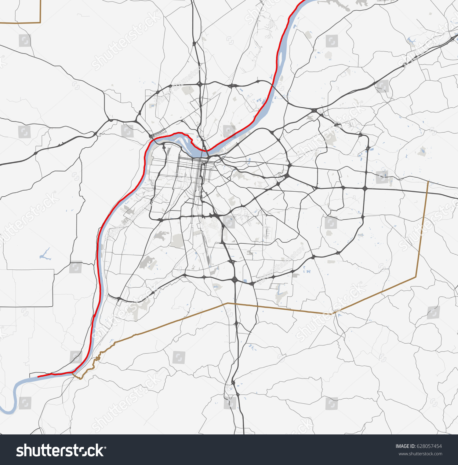 Map Louisville Kentucky Roads Stock Vector 628057454 Shutterstock