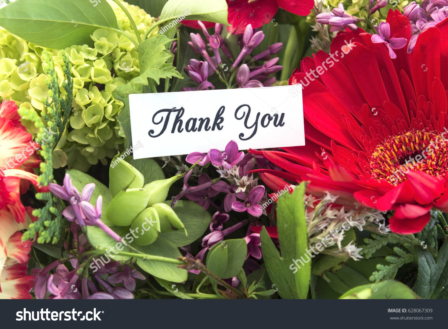 Thank You Card Bouquet Spring Flowers Stock Photo (100% Legal ...