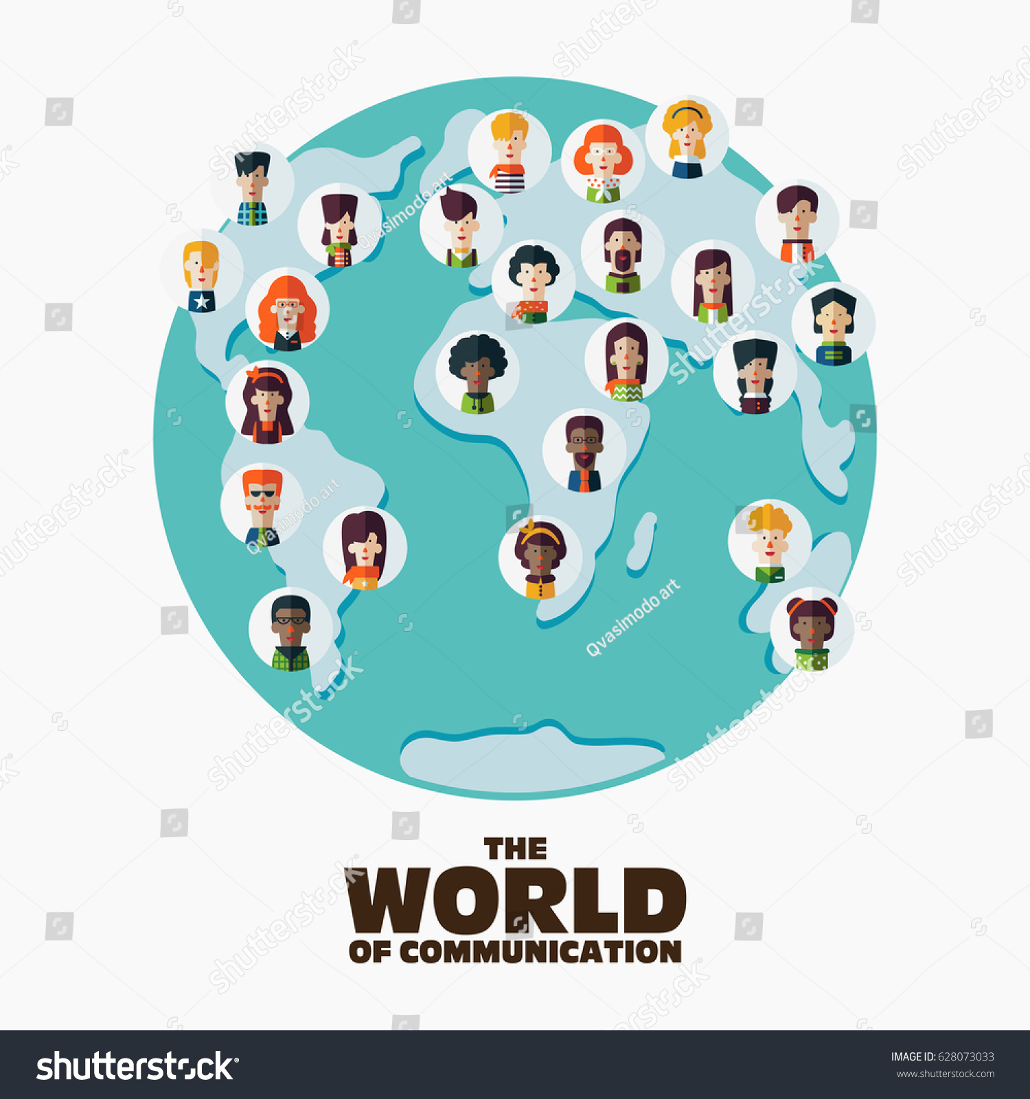 Set social multiethnic people icons on stock vector 628073033 set of social multi ethnic people icons on world map male and female faces biocorpaavc