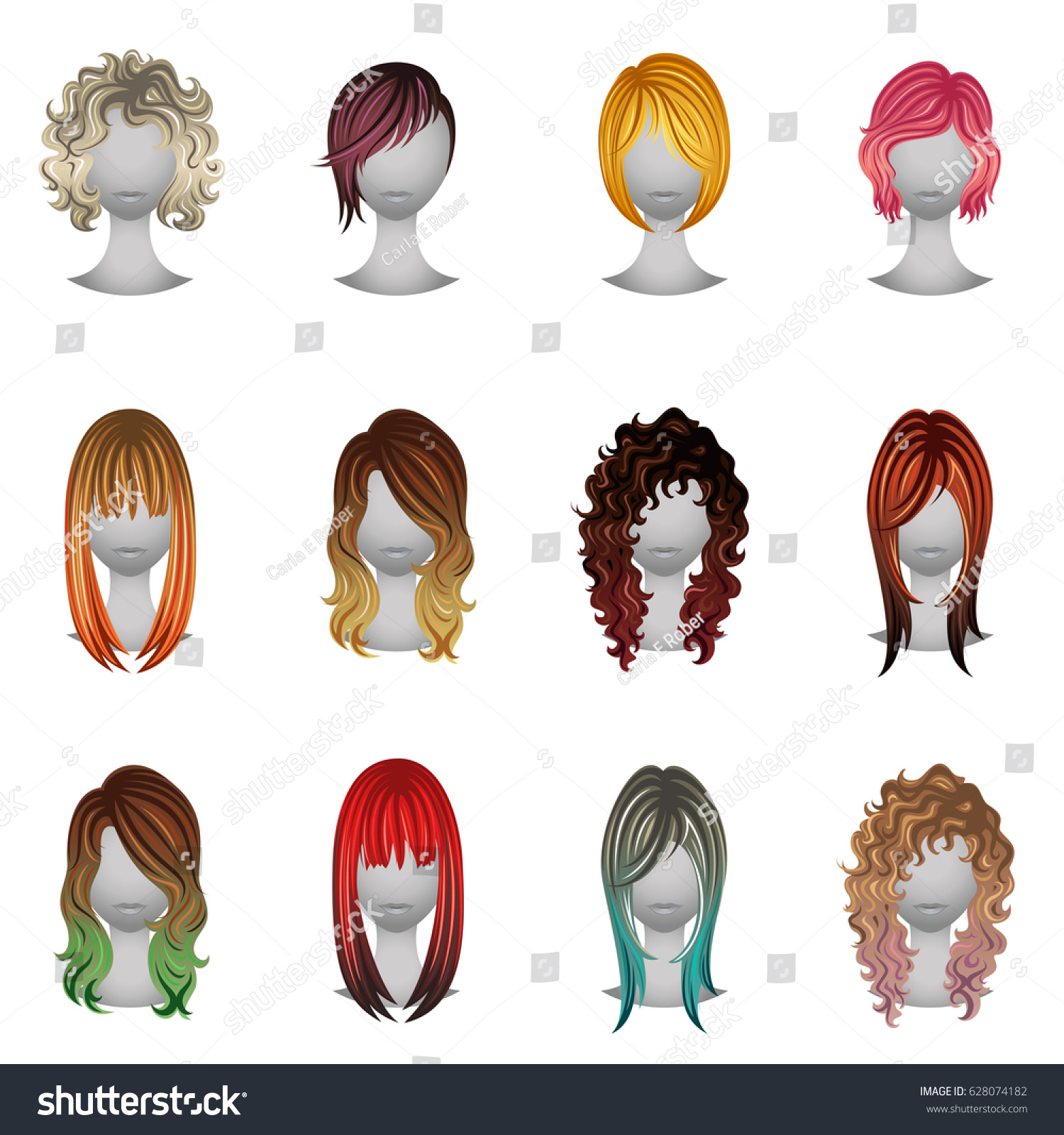 Set Different Types Hair Colors Stock Vector Royalty Free