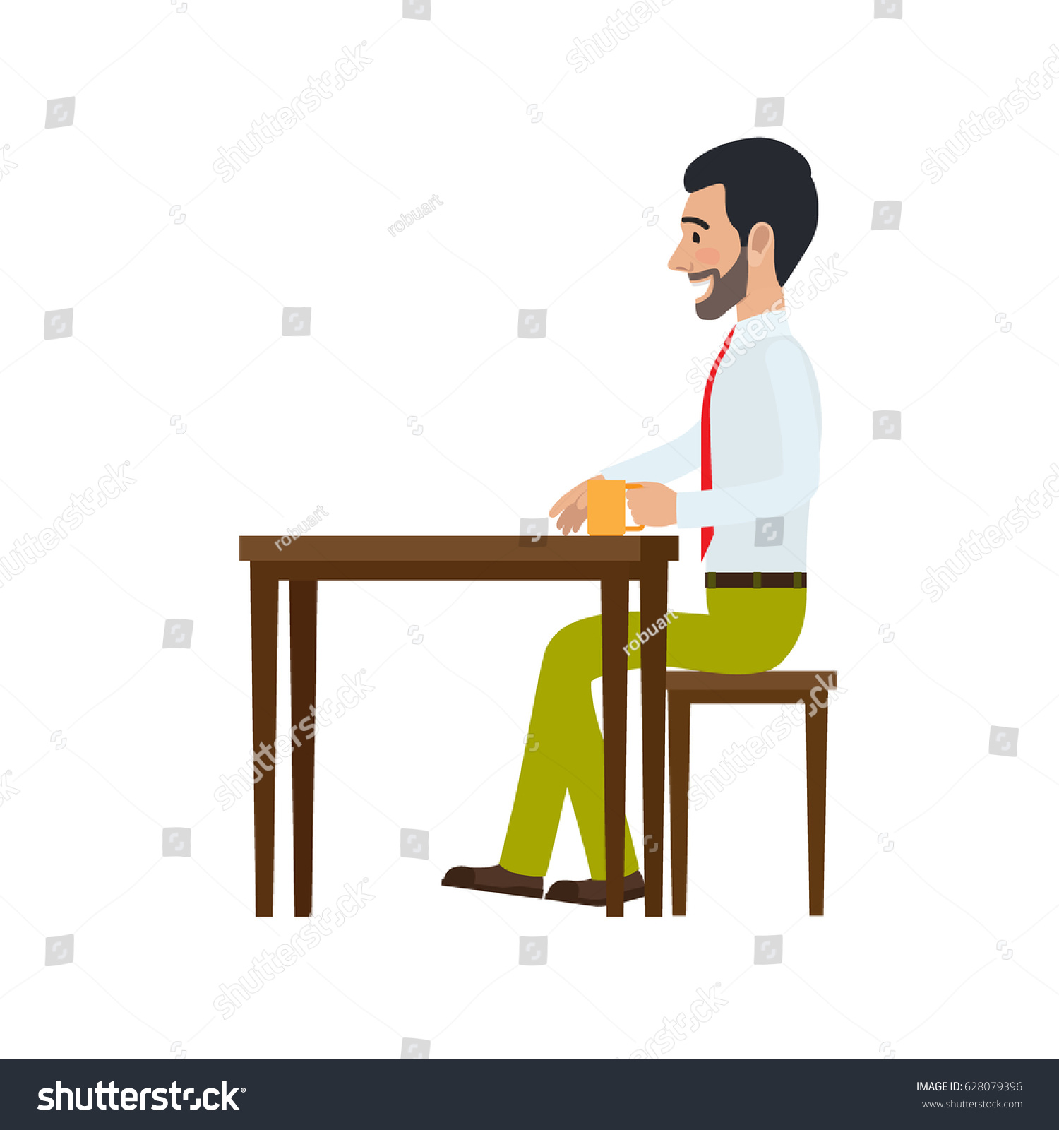 Man sitting in chair side - Man Sitting At Table On Chair And Drinking Tea Side View Man At Endless Work