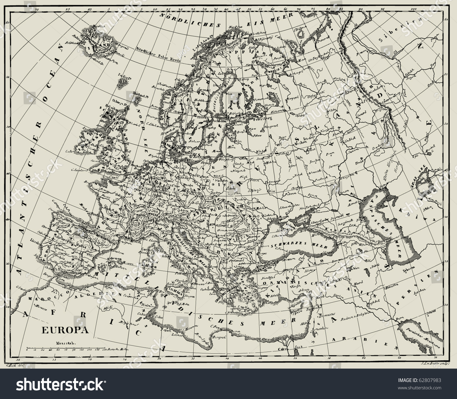 Vector Historical Map Europe Atlas Published Vector 62807983 – Europe Atlas Map