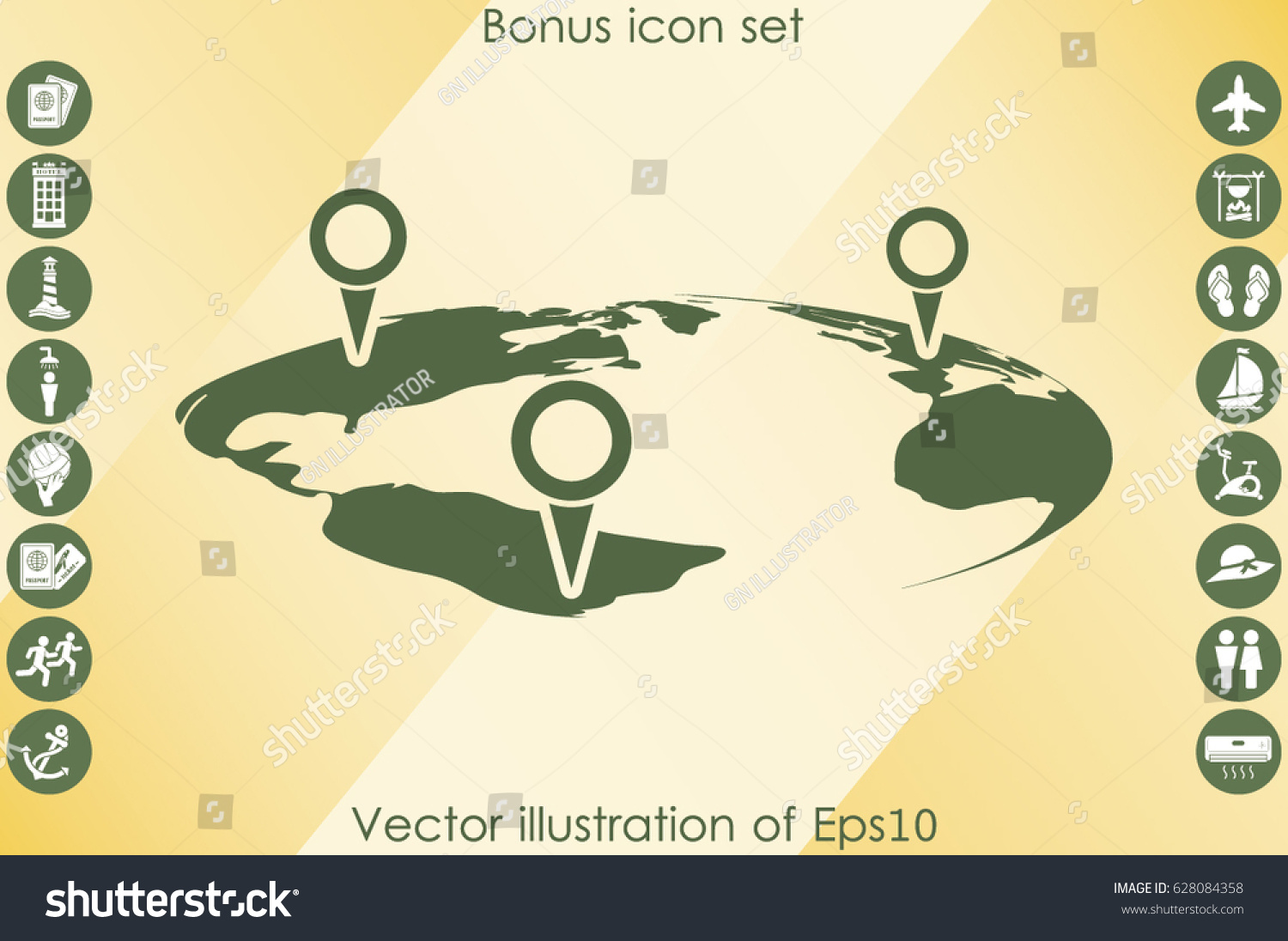 World map pointer marks icon vector stock vector 628084358 world map with pointer marks icon vector eps 10 abstract sign flat design illustration gumiabroncs Images