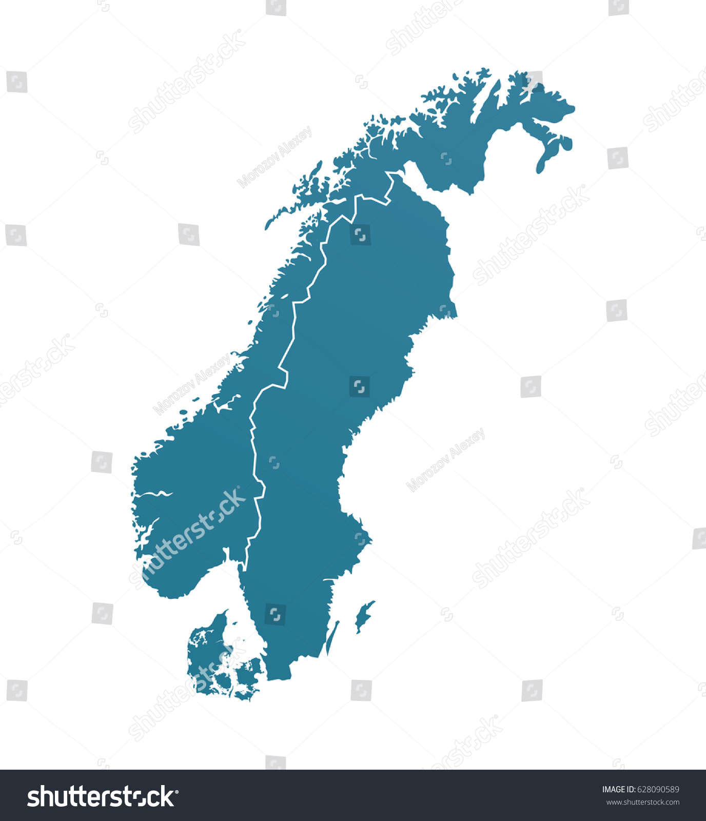 vector illustration with silhouette of scandinavia vector illustration with borders of northern european countries