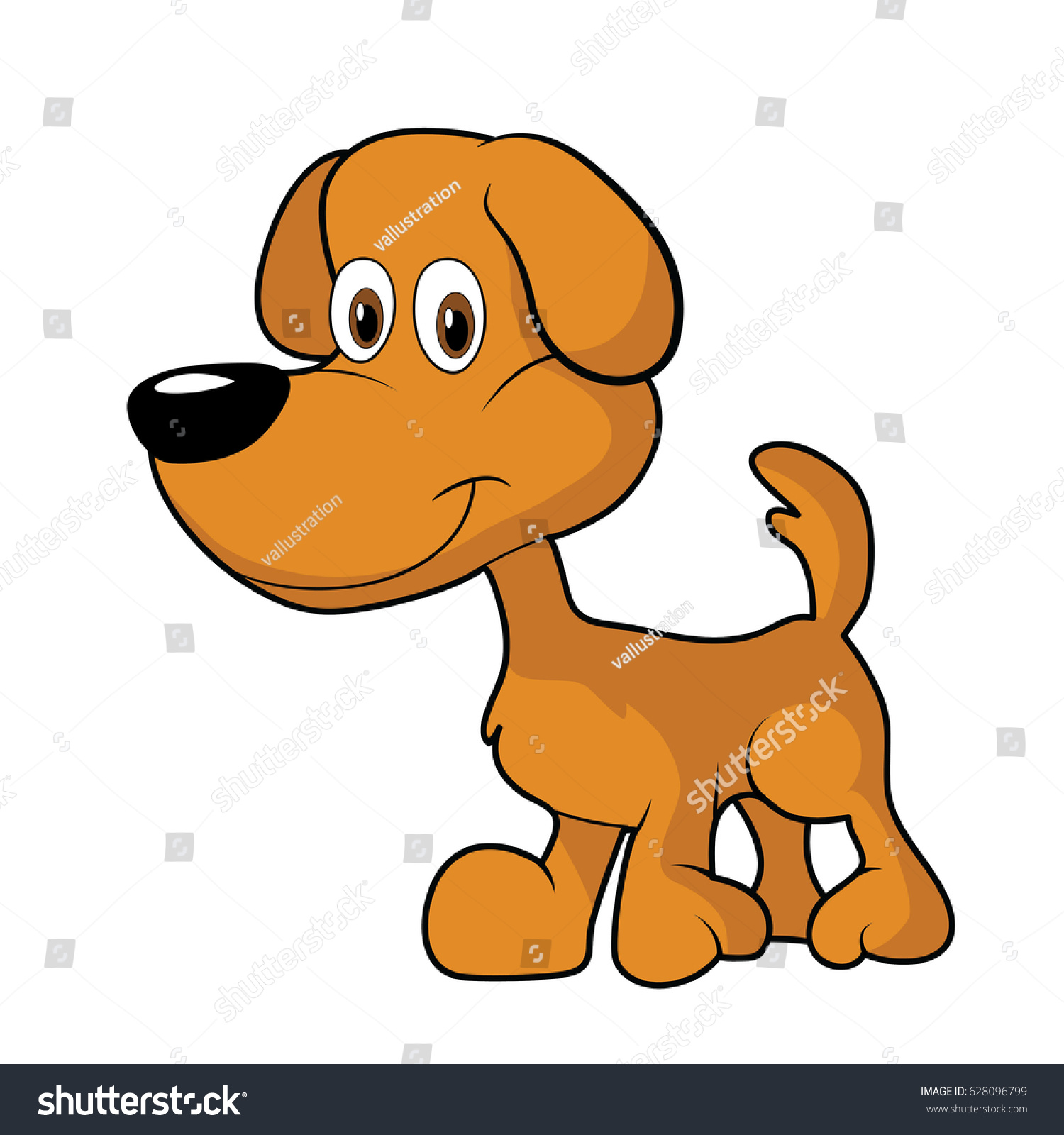 Image of: Worldartsme Little Cute Brown Cartoon Dog Clipart Shutterstock Little Cute Brown Cartoon Dog Clipart Stock Vector royalty Free